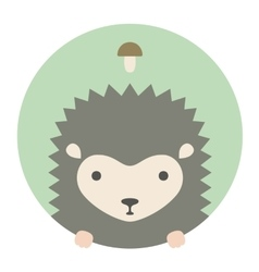 Animal set portrait in flat graphics - hedgehog vector