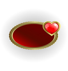 a frame of gold color with a red heart vector image