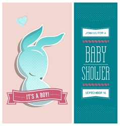 Baby shower invitation bunny boy vector