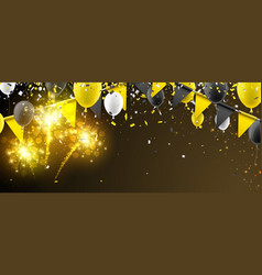Banner with flags balloons and fireworks vector