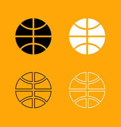 basketball ball set black and white icon vector image vector image