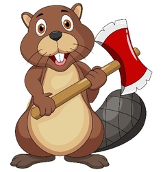 Beaver cartoon holding axe vector