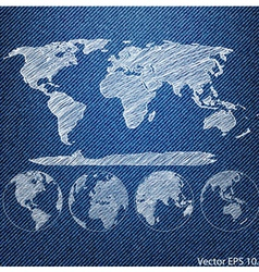 Blue denim texture with globe vector
