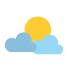 Clouds and sun isolated icon vector