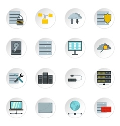 Database icons set flat style vector