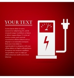 Electric energy supply for car flat icon on red vector