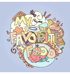 Favorite food confections sweets cakes and vector