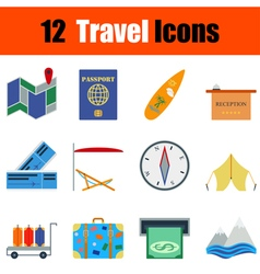 Flat design travel icon set vector image vector image