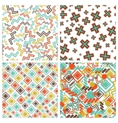 flat geometric shapes in seamless pattern vector image vector image