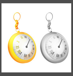 gold silver couple pocket clock vector image