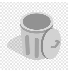 Gray trash can with open lid isometric icon vector