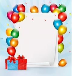 Holiday background with colorful balloons and gift vector image vector image