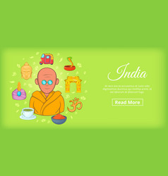 india travel horizontal banner cartoon style vector image vector image
