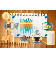 Infographic with business people and graphs vector