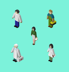 Isometric person set of pedagogue medic male and vector