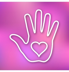 Linear of Hand print with heart icon vector image vector image