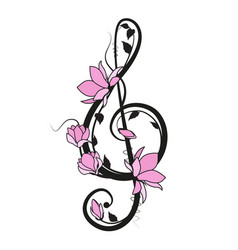 Music key with flowers vector