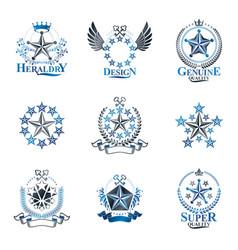 pentagonal stars emblems set heraldic coat of vector image