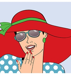popart retro woman with sun hat in comics style vector image