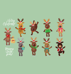 Santa s reindeer set of vector