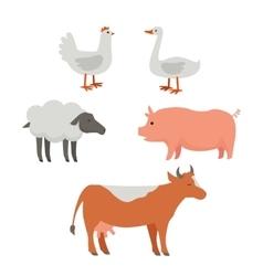Set of Domestic Animals Flat Design vector image vector image
