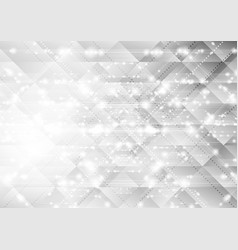 shiny sparkling low poly grey tech background vector image vector image