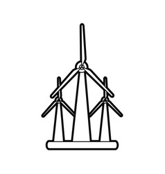 Sketch silhouette image wind turbine eolic energy vector