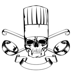Skull in toque and crossed ladles vector