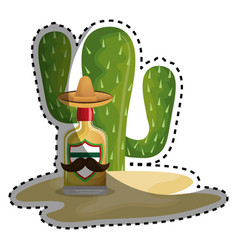 Sticker background cactus with bottle of tequila vector