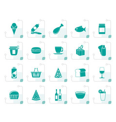 Stylized shop and foods icons vector