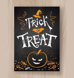 trick or treat postcard chalked design vector image