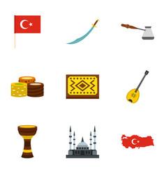 turkey travel icons set flat style vector image