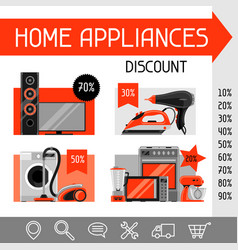 website template with home appliances household vector image vector image