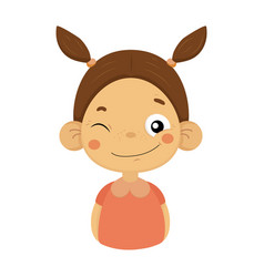 winking and smiling little girl flat cartoon vector image vector image