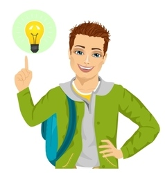 young student boy pointing finger to light bulb vector image
