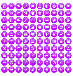 100 cow icons set purple vector
