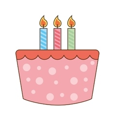 Cake delicious candles birthday icon vector