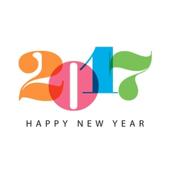 New year 2017 colorful number vector