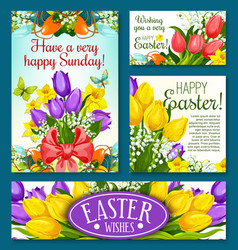 Easter holidays banner template set with flowers vector