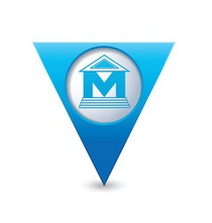 Museum icon pointer blue vector