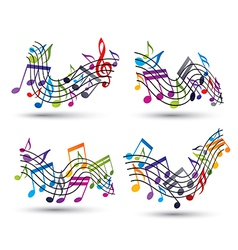Bright jolly staves with musical notes on white vector