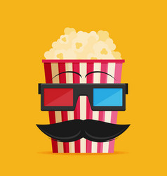3d glasses and big popcorn flat vector image vector image