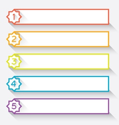 Set of numbered paper style headers with star vector