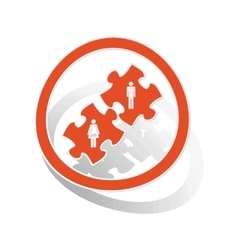 People puzzle sign sticker orange vector