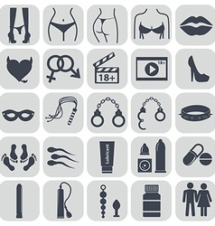 Sex icons set symbol xxx vector