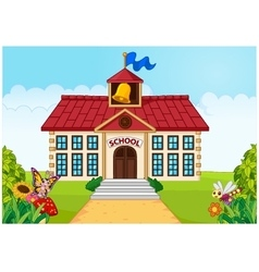 Cartoon school building isolated with green yard vector