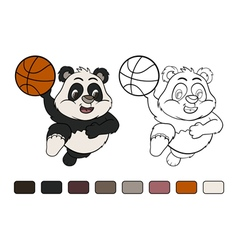 Little panda is playing basketball vector