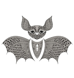 Zentangle black bat totem for adult anti stress vector