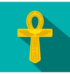 Gold ankh egypt icon flat style vector