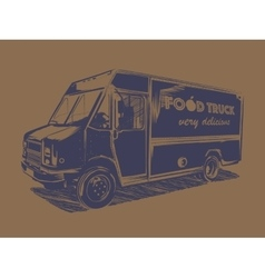 Painted blue food truck on a brown background vector